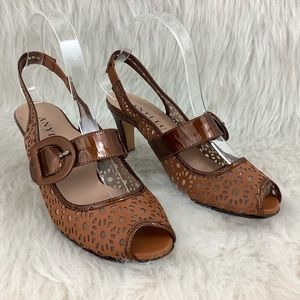 Anyi Lu Tulip Brown Leather Floral Laser Cut Heels